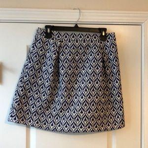 J.Crew Blue and White Geometrical Print Skirt